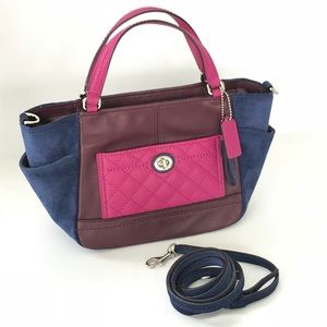 Coach leather burgundy navy fuchsia crossbody bag